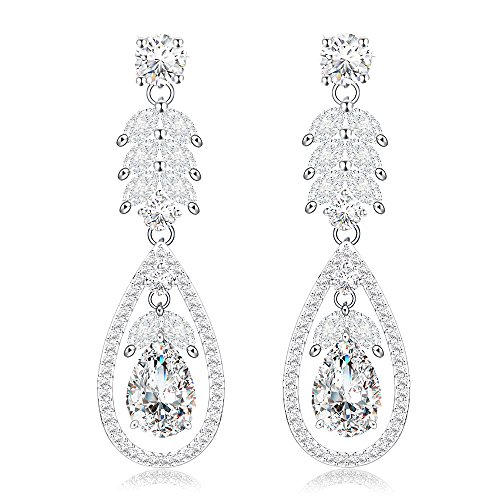 Roslynd Hypoallergenic Cubic Zirconia Earring, Wedding Crystal Rhinestone Dangle Earrings for Brides- 14K White Gold Plated