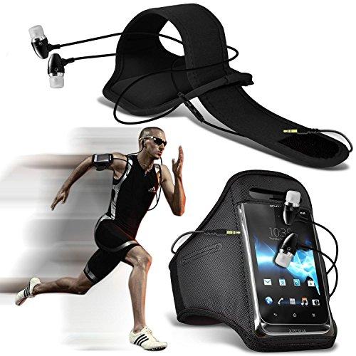 N4U Online®–Apple iPhone 6s Plus de protection élégante Drap-housse Sports Brassards Course Vélo Cyclisme Gym Jogging Ridding Arm Band avec coque de qualité premium en écouteurs stéréo mains libres