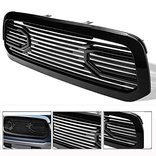 VXMOTOR for 2013-2018 Dodge Ram 1500 ; 2019 Ram 1500 Classic Glossy Black Blk Big Horn Style Front Hood Bumper Grill Grille ABS with Shell