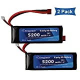 Powermall 2 Packs 30C 2S 7.4V 5200mAh Lipo Battery Hard Case with Deans Connector for RC Quadcopter Helicopter Airplane Drone and FPV