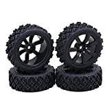 BQLZR 7 Spoke wheels Rims Beard Pattern Rubber Tyre Model Vehicle Parts for RC 1:10 On-Road Racing Car Pack of 4