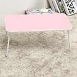 GFL Adjustable Laptop Bed Table, Bed Tray Table, Portable Standing Desk, With Foldable Legs, Foldable Sofa Breakfast Table L57cmW34cmH28cm Computer Tables (Color : Pink)
