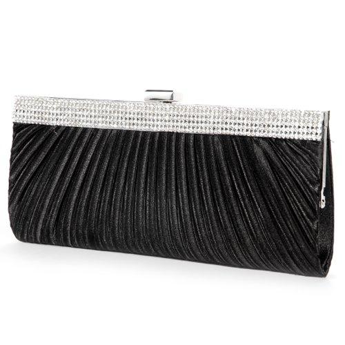 Black Satin Diamante Clutch Bag - 6