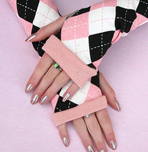(Collegiate Argyle Pink Black plaid gloves Arm Warmers)