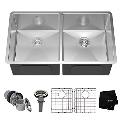 Kraus KHU102-33 33 inch Undermount 50/50 Double Bowl 16 gauge Stainless Steel Kitchen Sink (Sink Basin Kitchen Double Undermount)