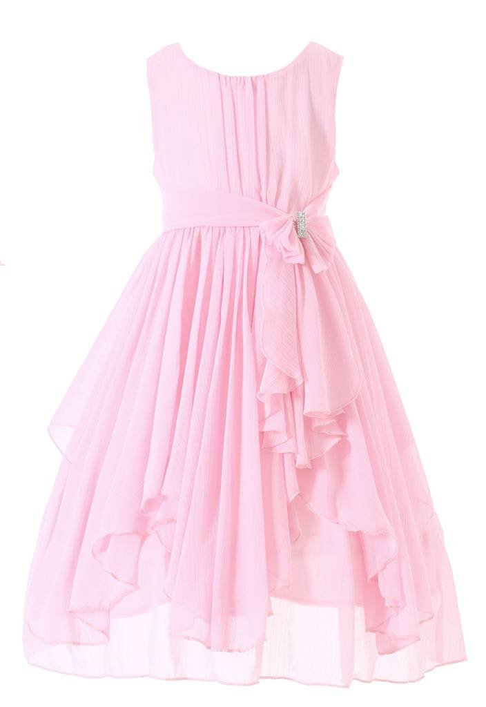 Bow Dream Flower Girl Dress Bridesmaid Ruffled Chiffon Blush Pink 12