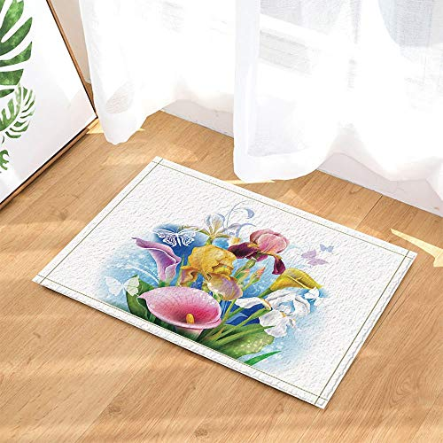 - Spring Flower Decoration,Calla Lily and Iris Flower Bathroom Rug,3D Hd Printing Does Not Fade,Indoor Non-Slip Door Mat,Children's Bathroom Rug,15.7X23.6 Inches,Bathroom Accessories