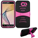 Cheap Phone Case Verizon Samsung Galaxy-J7 Prepaid (SMJ727VZKPP) / Galaxy-J7-Sky-Pro/Galaxy J7-Perx (J7-2017) Rugged Heavy Duty Armo Cover Stand (Armor Black Skin-Pink Stand)