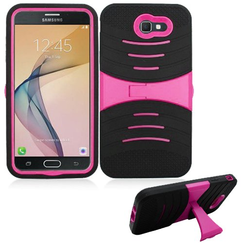 Cheap Phone Case Verizon Samsung Galaxy-J7 Prepaid (SMJ727VZKPP) / Galaxy-J7-Sky-Pro/Galaxy J7-Perx (J7-2017) Rugged Heavy Duty Armo Cover Stand (Armor Black Skin-Pink Stand)