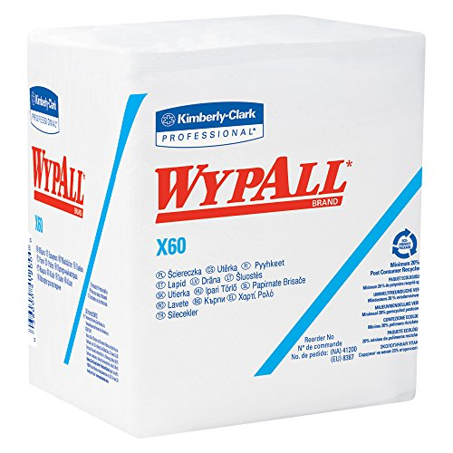 Wypall X60 Reusable Wipers (34865) Quarterfold Washcloths, White, 76 Sheets / Pack, 12 Packs / Case, 912 Washcloths / Case
