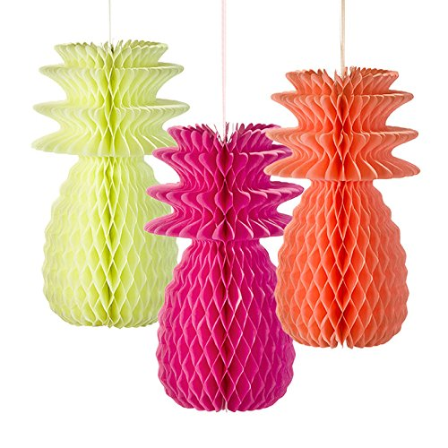 Talking Tables Decadent Decorations Hanging Honeycomb Pineapple Décor  for a BBQ, Luau, or Summer Party, Multicolor (3 Pack)]()