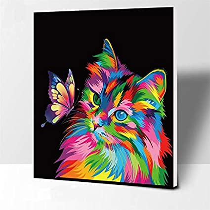 Colorful Paint By Numbers Kits DIY Number Canvas Painting Hand Animals Butterfly