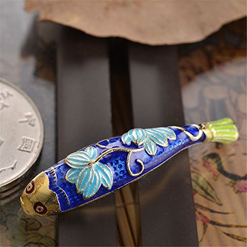 (MFMei 925 Sterling Silver Golden Plated Fish Cloisonne Curved Tube Bead (TL029))