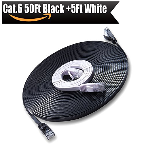 Ethernet Cable Cat6 Internet Network Cable - Flat Ethernet Patch Cable with Snagless Rj45 Connector - Compatible with Cat5e Cat5 Computer Lan Wire for PS4,Xbox,Switch,Modem,Router Black 50ft White 5ft (Best Router For Steam Streaming)