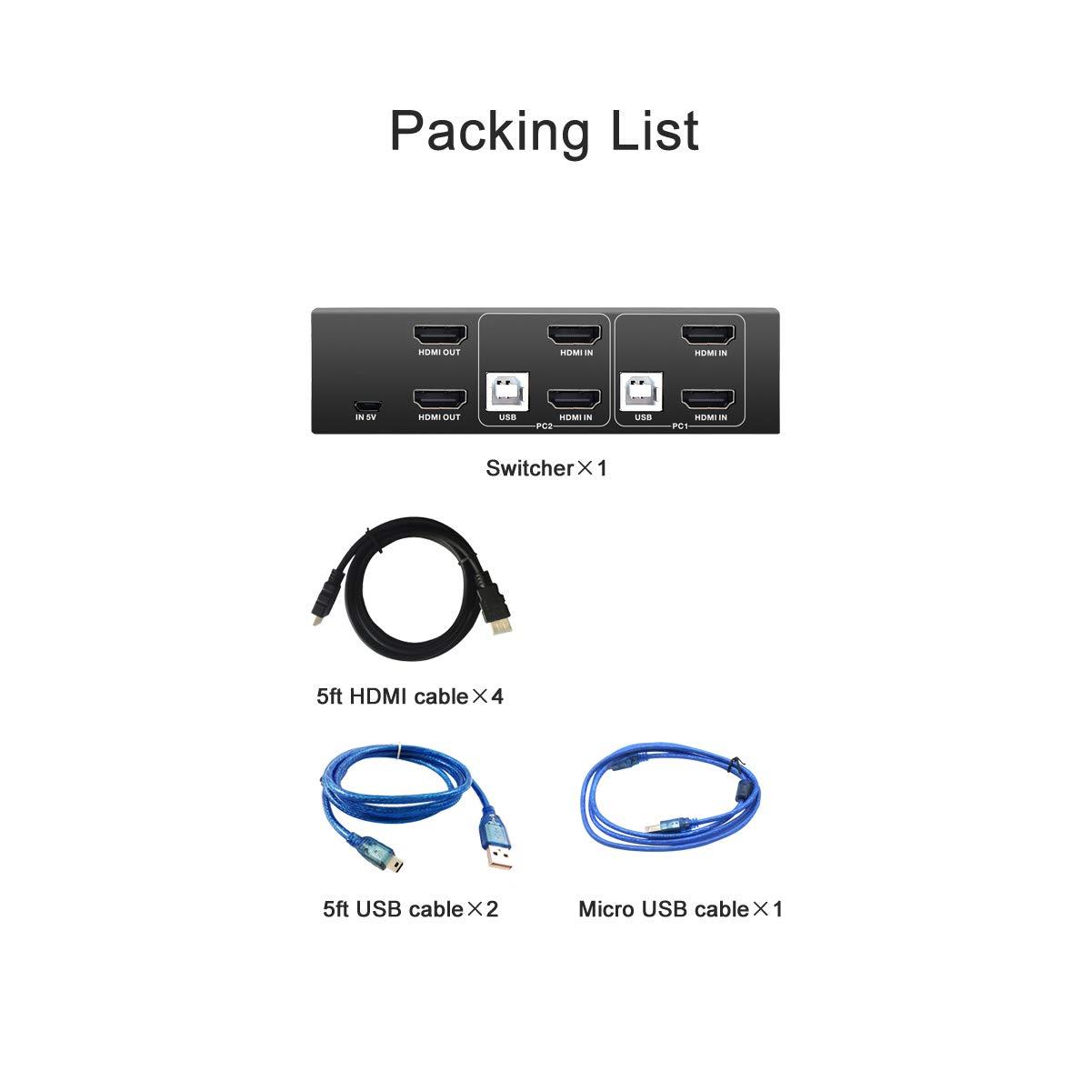 PW-SH0201C HDMI KVM Switch 2 Puertos con Cables USB y HDMI Sistema Compatible Win Vista Unix y Otros Win 7 4K@60Hz y HDMI 2.0 y USB 2.0 compatibles Win 10 Mac Os X o Superior Linux Win 8.1