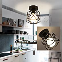 Marsbros Metal Retro Ceiling Light Industrial Flush Mount 1 Light Fixture Mini Edison Kitchen Bar Light (Bulb Not Included) (Black3)