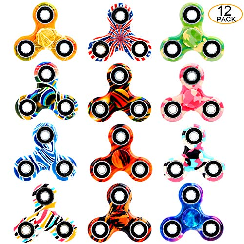 SCIONE Fidget Spinner 12 Pack ADHD Stress Relief Anxiety Toys Best Autism Fidgets Spinners for Adults Children Finger Toy with Bearing Focus Fidgeting Restless Colorful Hand Spin Party -