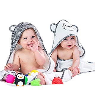 2 Pack Baby Hooded Bath Towels for Boys & Girls - Soft Cotton Babies Towel with Hood Set - Unisex Infant & Newborn Bath Towels for Boy and Girl - Toallas de baño con Capucha para bebés