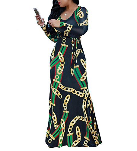 Pretty Lady Green - shekiss Women's Scoop Neck Geometric Printed Bohemian Bodycon Long Sleeves Floor Length Ladies Maxi Dresses Black Green