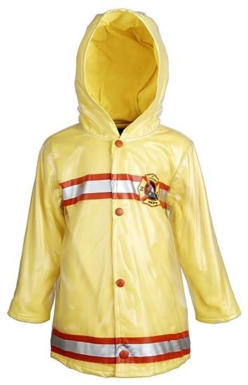 87b78d5c3 Amazon.com: Wippette Baby Boys Waterproof Hooded Fleece Lined Firefighter Raincoat  Jacket: Clothing