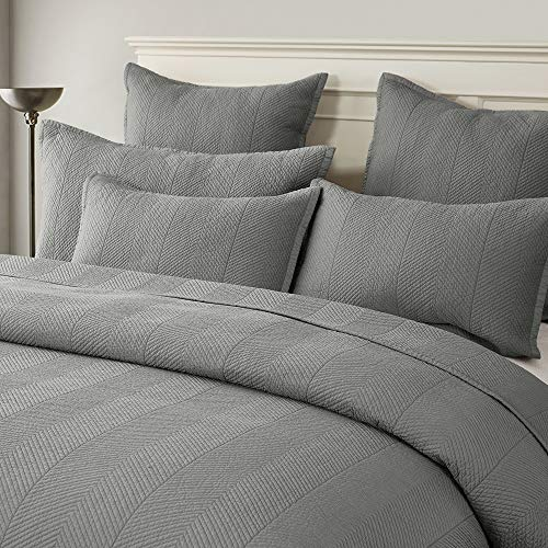 Calla Angel Evelyn Stitch Chevron Pure Cotton Quilted Pillow Sham 20 x 36, Gray, King Pillow (French Quilted Pillow)