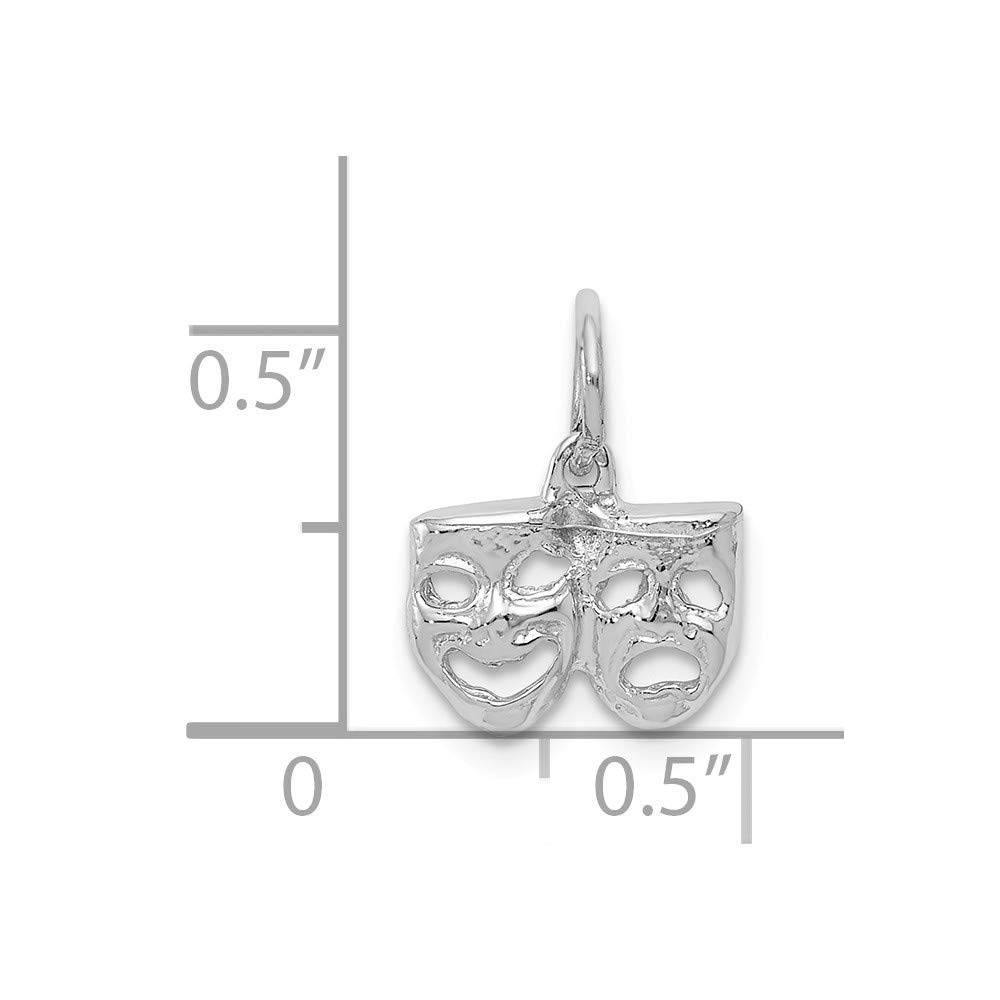 14K White Gold Solid Comedy//Tragedy Charm
