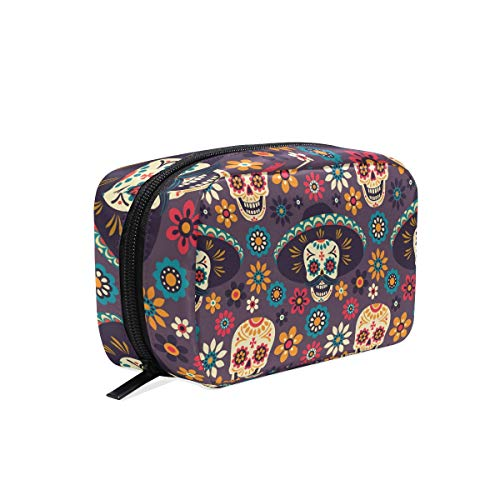 Travel Cosmetic Bag Dark Gothic Skull Makeup Bag Zipper Storage Bag Portable for Ladies women's Travel Square Makeup Brushes -