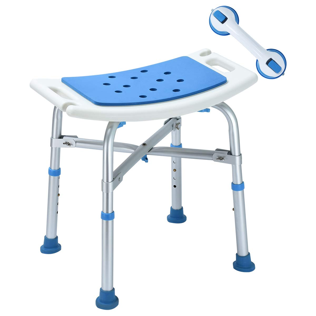 2018 Upgraded 500 lbs Cap. Shower Stool, Bariatric Heavy Duty Bath Chair Transfer Bench w/EVA Paded Seat and Assist Grab Bar (White/Blue)