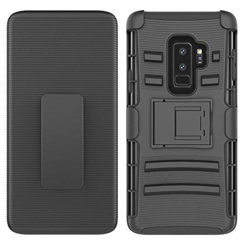 - Iusun for Galaxy S9/S9 Plus Case, Premium Rigid Rubberized Plastic Kickstand Holster Belt Clip Cover Case for Samsung Galaxy S9/S9 Plus (Black 1, Samsung Galaxy S9 Plus)