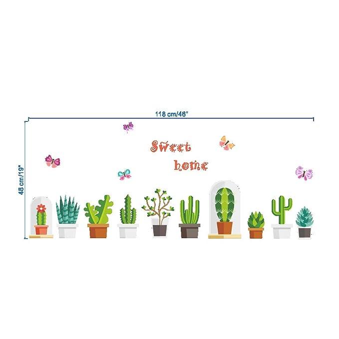 Vosarea Planta Tatuajes de Pared Cactus Mariposa Planta Verde PVC ...