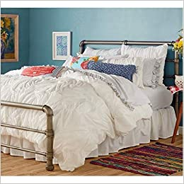 Pioneer Woman Ticking Stripe Blue Red Reversible Comforter Full Queen 90 x 94