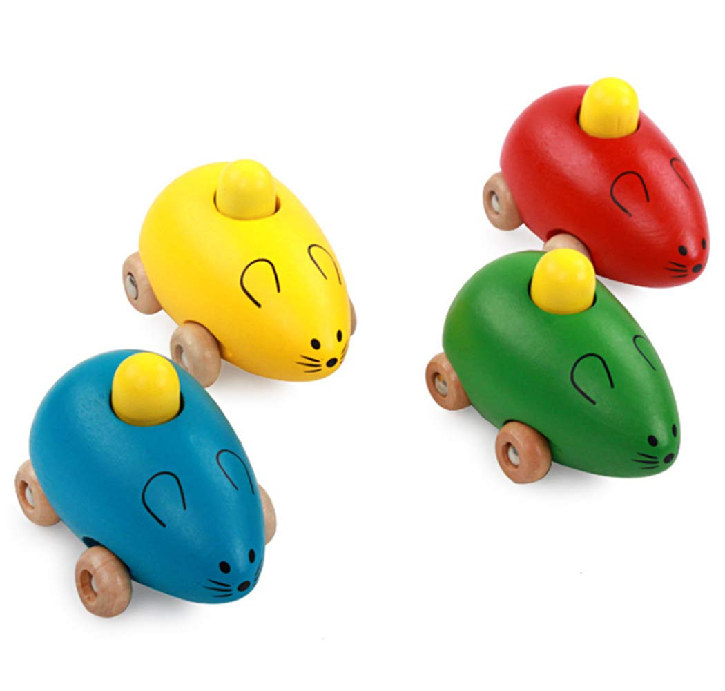 Hillento Fashion Smart Gift Kids Child Baby Cute Mice Squeak Wooden Toy Car Set of 4 Blue Green Red Yellow