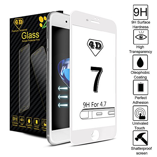 iPhone 7 Screen Protector,Akpati iPhone 7 Tempered Glass Screen Protector Full Coverage 4D Curved Tempered Glass Clear Anti-Bubble Film [Case Friendly][Anti-Scratch] for iPhone 7 (4.7inch) - White