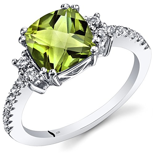 14K White Gold Peridot Ring Cushion Checkerboard Cut 2.25 Carats Size 6