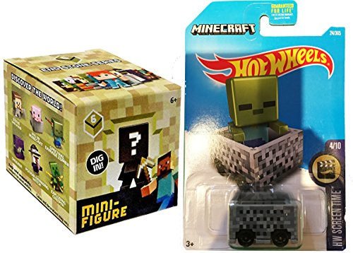 Hot Wheels 2017 Screen Time #24 MineCart Slime with Minecraft Collectible Figure Mystery Blind Box Character Mini Figures Stone Series Six