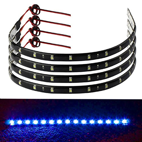 Fullkang 4 x 30cm 15 LED Car Trucks Grill Flexible Waterproof Light Strips Blue (Grill And Under Car Light compare prices)