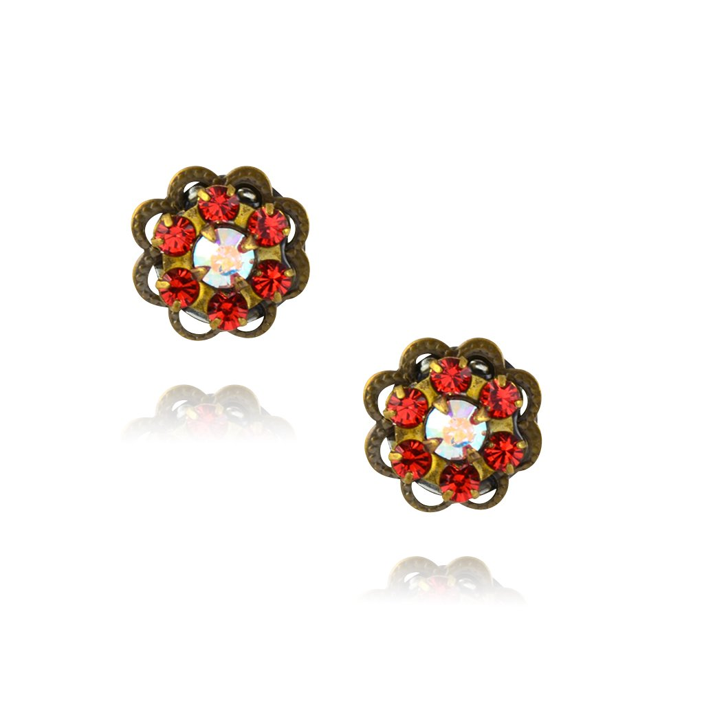 Antique Brass Posts in Red//AB Caroline Heath Small Crystal Flower Stud Earrings