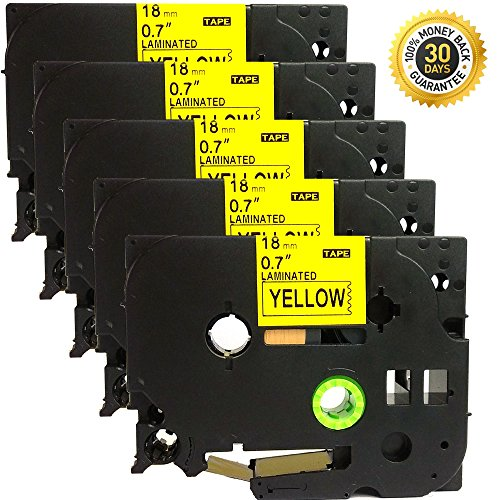 NEOUZA 5PK Compatible For Brother P-Touch Laminated TZe TZ Label Tape Cartridge 18mm x 8m (TZe-641 Black on (18 Mm Labelling Tape)