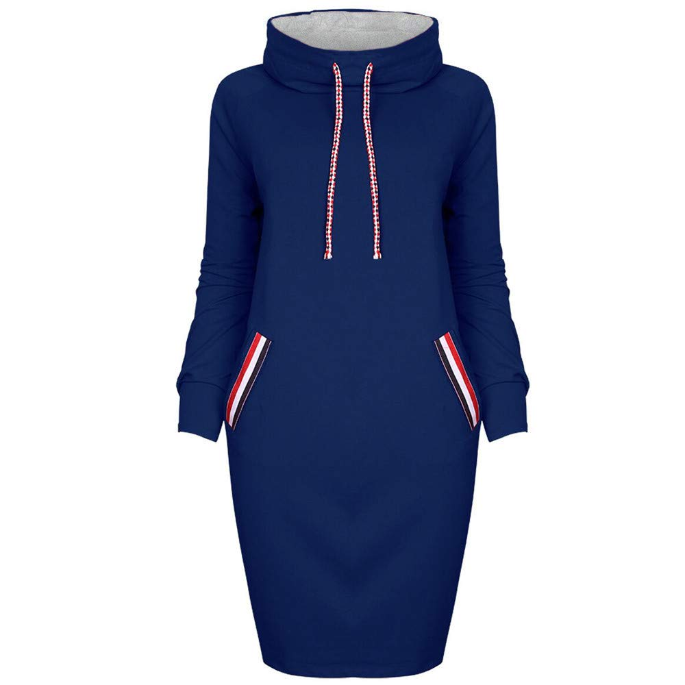 Damen Kleider, GJKK Damen Elegant Beiläufiges Winter Hemd Kleid Casual Tasche Langarm Lose T-Shirt-Kleid Abendkleid Partykleid