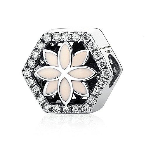 Enamel Sterling Silver Flower Beads - Everbling Pink Enamel Summer Flower 925 Sterling Silver Bead Fits European Charm Bracelet