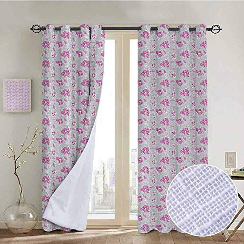 NUOMANAN Kitchen Curtains Floral,Doodle Style Flowers on an Abstract Dotted Background Romantic Illustration,Fuchsia Grey White,Rod Pocket Drapes Thermal Insulated Panels Home décor -