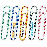 Homework2 ★ Jumbo Paper Clips, Assorted Zebra Colors, Vinyl Coated, 65 Per Box, 50 mm