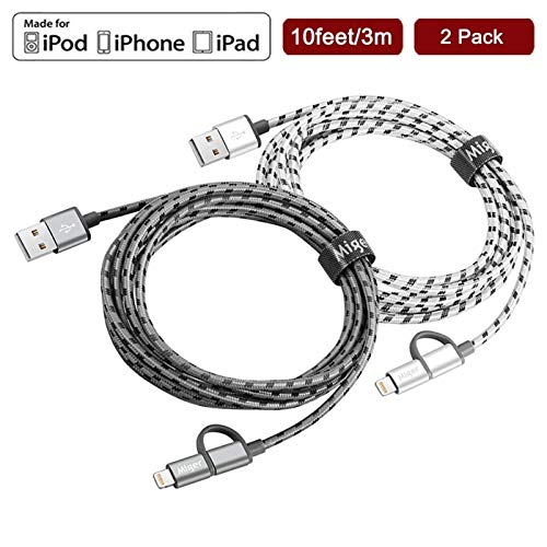 MIGER 2Pack Double Braided Nylon USB A to Lightning Compatible Cable & Micro USB Cable, Apple Mfi Certified for iPhone iPad iPod Samsung HTC BlackBerry Nokia Google LG Camera (Gray+Silver, 10ft/3m)