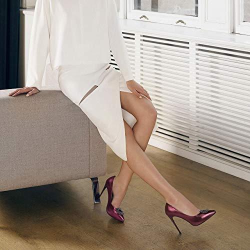 Single Femme Féminin Red Antignor Hauts Noir Bourgogne Chaussures Talon Taille Aiguille Pointu Talons Nouvelle Sexy Parti À Cuir Strass couleur En 37 8p80z