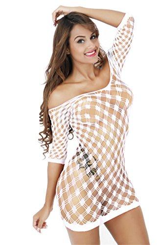 U-Story Womens Sexy Lingerie Sheer See through Fishnet Chemise Babydoll Mini Dress (White) - Sexy See Through Fishnet