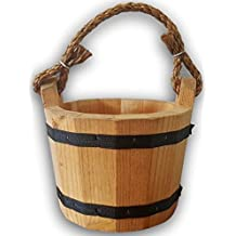"""Wooden Bucket 6"""" x 8"""" Water Wishing Well Pail with Rope Twine Handle Solid Wood Vintage Style Primitive Planter Handmade in the USA"""