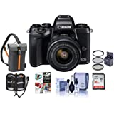 Canon EOS M5 Mirrorless Digital Camera Kit with EF-M 15-45mm f/3.5-6.3 IS STM Lens - Bundle with Holster Case, 16GB SDHC Card, 49mm Filter Kit, Cleaning Kit, Memory Wallet, Software Package