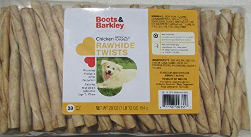Flavored Rawhide Twists - Boots and Barkley Chicken Flavored Rawhide Twists 100 Count by Boots& Barkley