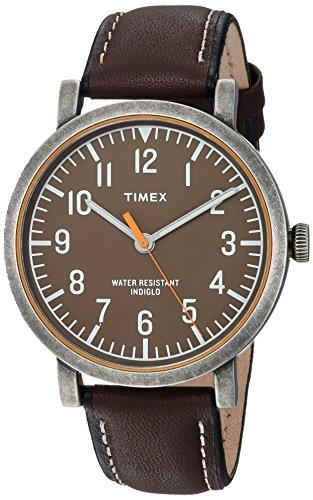 Timex Unisex TWH3Z1810 Originals Oversized Black/Antique Brass Leather Strap Watch (Watch Brass Womens)