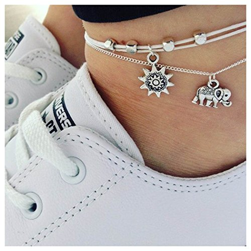 - Aukmla Elephant and Sunflower Anklet Boho Ankle Bracelet Barefoot Sandal Beach Jewelry Adjustable